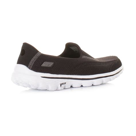 skechers comfort walkers womens skechers go walk 2 black white comfort walking