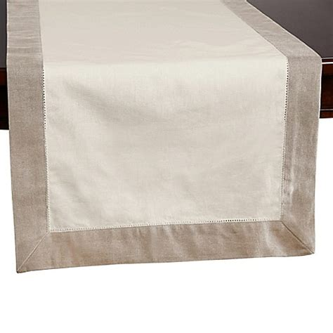 table runners bed bath and beyond buy wamsutta bordered linen 108 inch table runner in