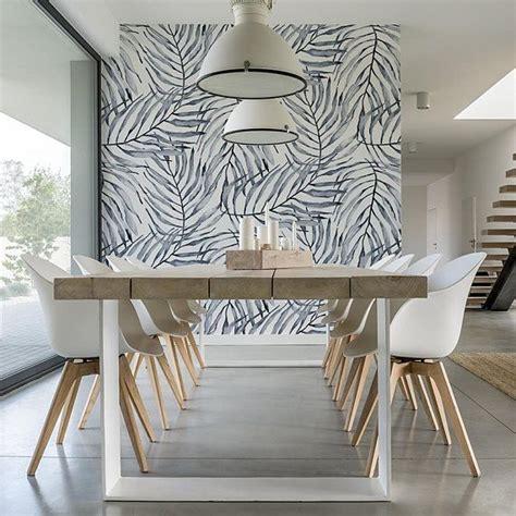 soft blue palm print wallpaper tropical interior design