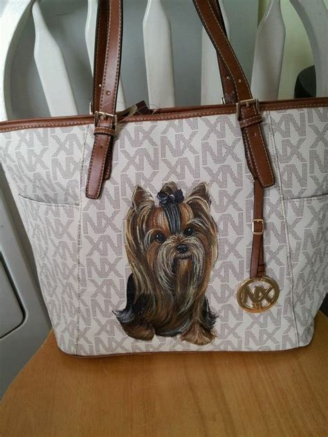 yorkie handbags handpainted yorkie handbag painting purse misspaintsalot