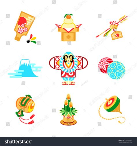new year symbols and customs japanese new year toys decorations symbols stock vector