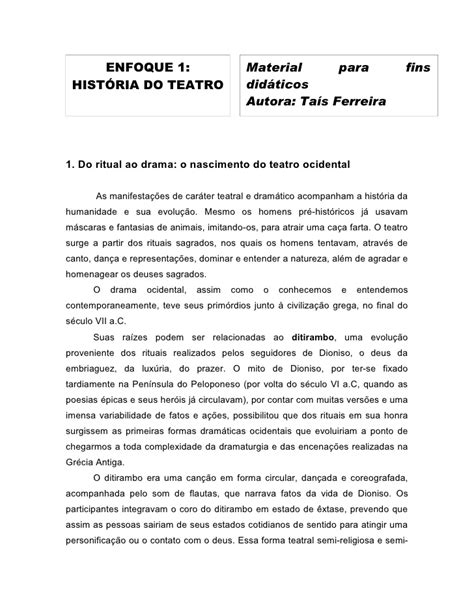 Resumão historia do teatro