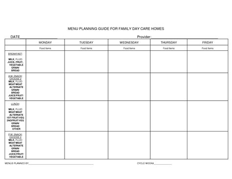 child care menu templates free daycare menu template 6 best agenda templates