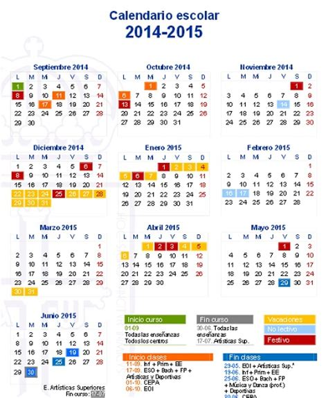 Calendario Escolar 2014 Calendario Escolar Educastur New Style For 2016 2017