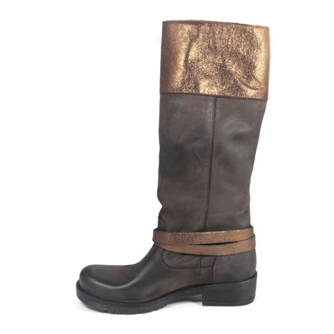 brown leather biker boots biker boots in genuine leather brown with metallic bronze