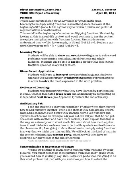 direct interactive lesson plan template direct lesson to print
