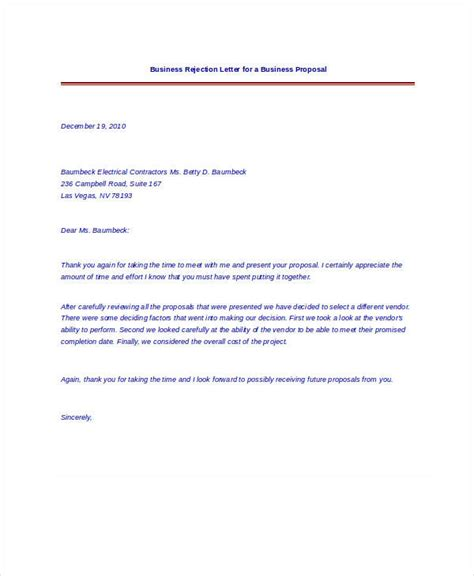 Rejection Letter In Business Rejection Letter Business Refusal Letter Sle