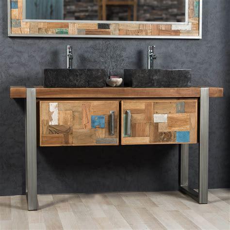 meuble salle de bain metal meuble sous vasque vasque en bois teck massif et acier bross 233 factory l 140 cm