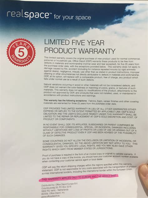office depot warranty only in middle east plumbing
