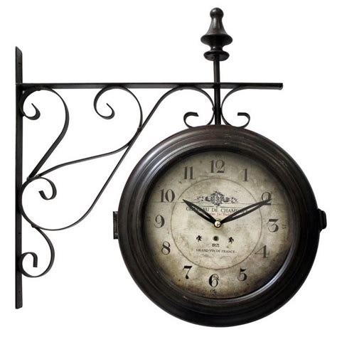 home decor clocks vintage iron metal wall french clock hanging double side