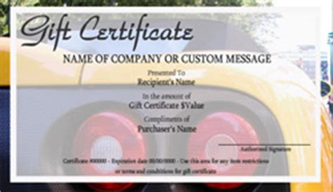 automotive gift certificate templates easy to use gift