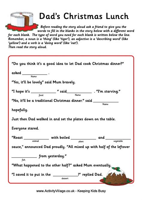 printable christmas fill in the blank games christmas fill in the blank story dad s christmas lunch