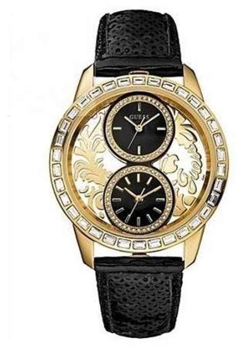 Guess Dualtime Leather Gold 1 new guess u18512l1 s dual time gold tone brocade black leather guess http