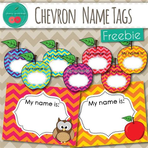 printable name tags for pre k free name tags beautiful chevron owl and apples learning