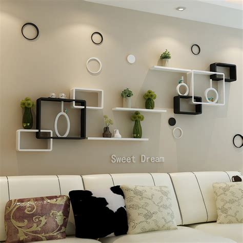living room wall shelves tv background wall shelving cross creative lattice shelf