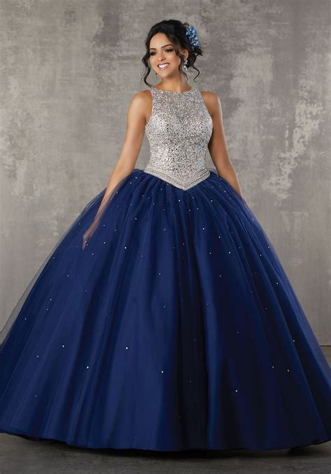 Dress La allover beaded bodice on a tulle gown style 60040