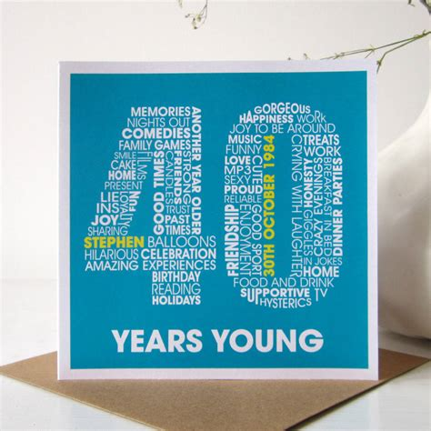 40th birthday card template personalised 40th birthday card by mrs l cards