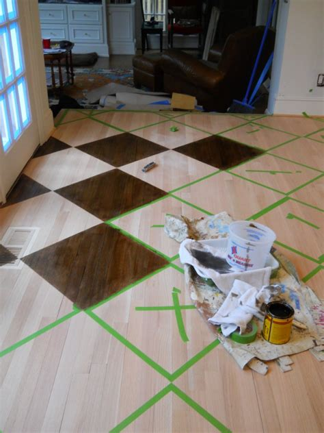 painting a floor how to paint stain a pattern on a wood floor by artist