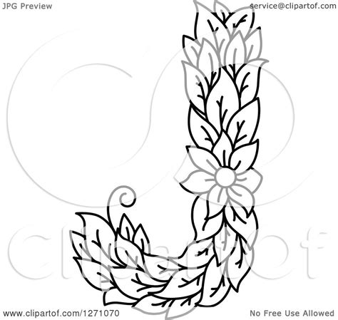 clipart of a black and white floral capital letter j with