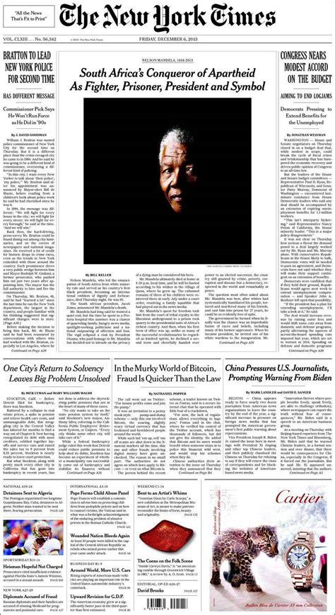 New York Times Mba Internship by La Premsa Internacional S Acomiada De Mandela Quot El Profeta
