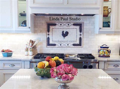 custom backsplash tile rooster tile medallions kitchen backsplashes with rooster