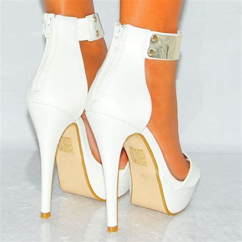 white high heels white pu leather gold metal ankle cuff high heel