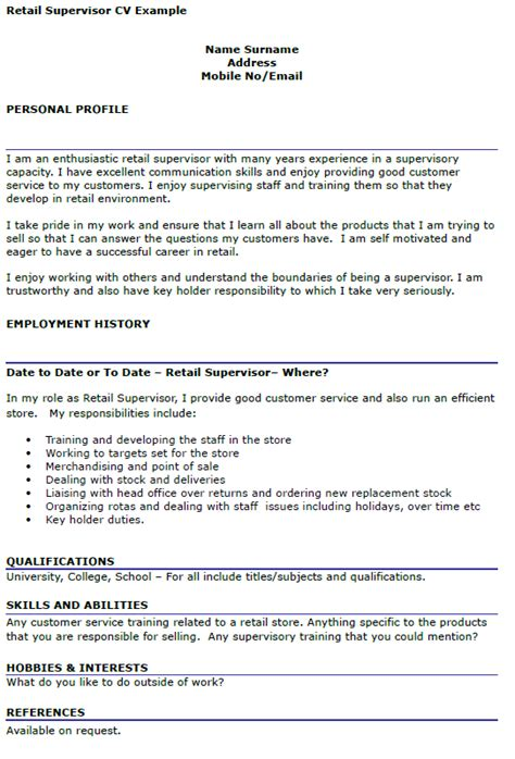 retail supervisor cv exle icover org uk