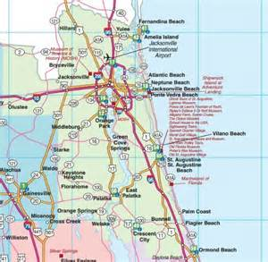 Road Map Of Florida by Northeast Florida Road Map Showing Main Towns Cities And