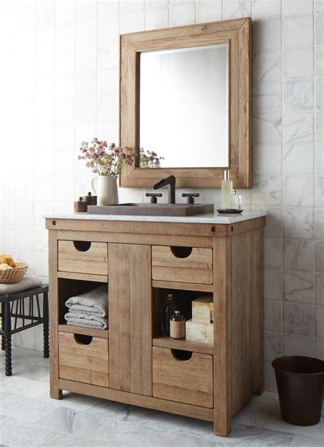 simple country cottage style bathroom vanity featuring