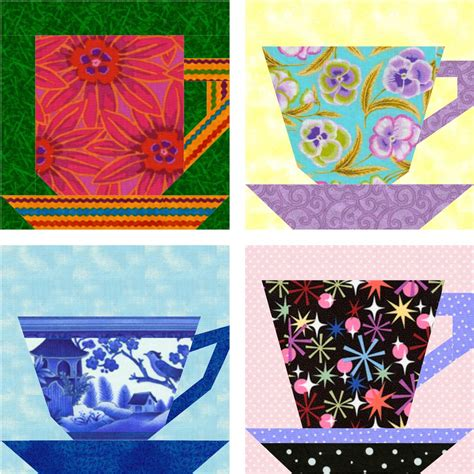 pattern paper cup tea and coffee cups free paper pieced blocks piece by number