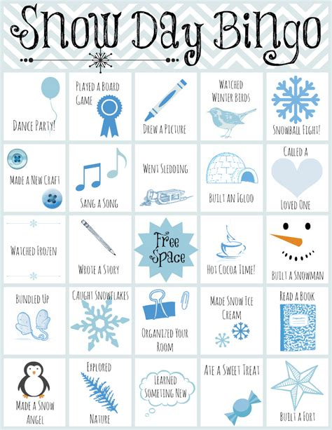 day bingo printable snow day bingo allfreekidscrafts