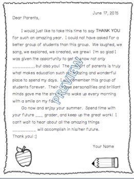 school year letter parents editable