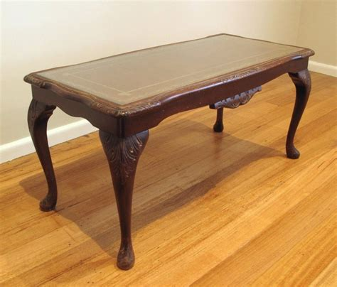 Ornate Antique Coffee Table With Glass And Leather Top Ebay Antique Glass Top Coffee Table