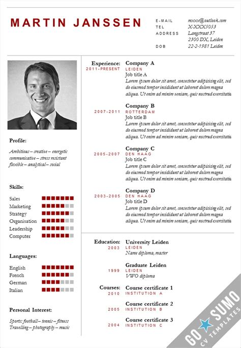 cv template with photo cv template boston go sumo cv template