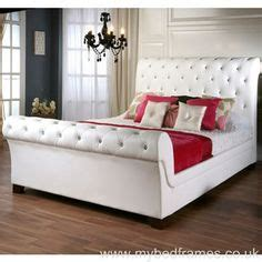 White Leather Sleigh Bed Frame Leather Bed Frames On Pinterest Leather Bed Frame Bed Frame And Black Faux Leather