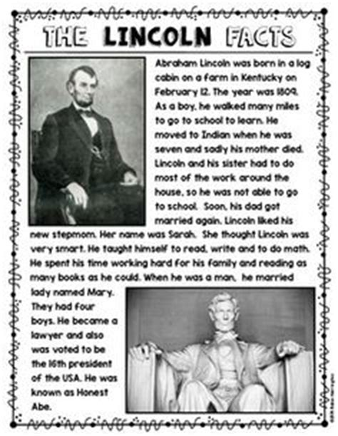 questions on biography of abraham lincoln elementary abraham lincoln writing activity 1st grade