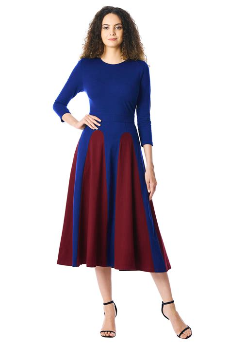 Color Block 3 4 Sleeve Dress us 11 04 color block 3 4 sleeve neck midi dress