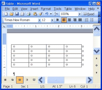 words with table microsoft word tables