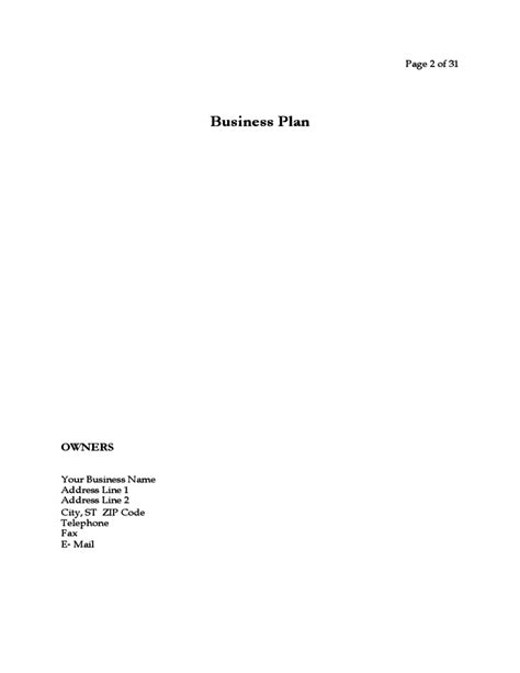 business plan for a startup business free