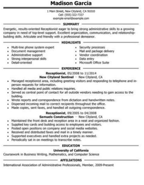 Receptionist Skills Resume by Receptionist Resume Skills Resume Ideas