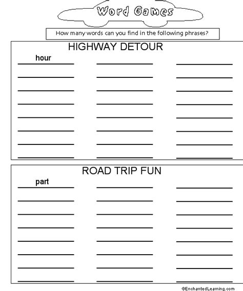 how many words can a learn car travel activity book how many words can you find 2 enchantedlearning