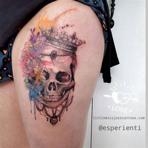 watercolor sugar skull tattoo watercolor skull and flower by jess hannigan