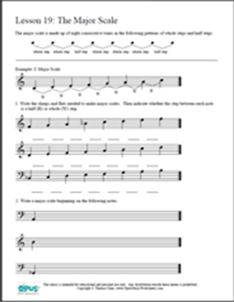 major scale pattern music theory free printable music worksheets opus music worksheets