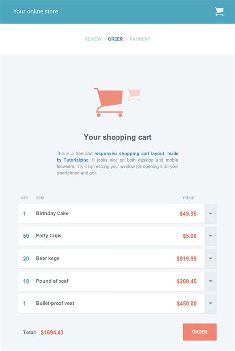 free shopping cart templates html free template responsive shopping cart tutorialzine