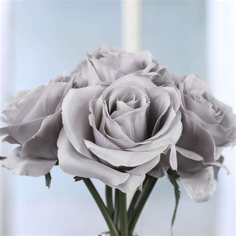 Gray Artificial Open Rose Bouquet   Anniversary   25th and