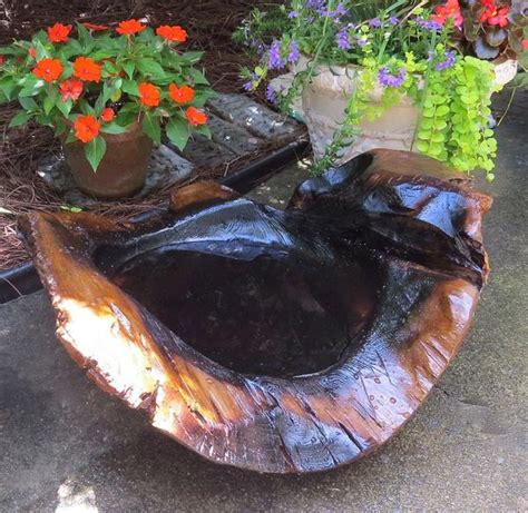 natural teak ground bird bath large ground baths