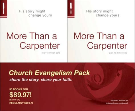 read more than a carpenter church evangelism pack 30 pack by josh d mcdowell