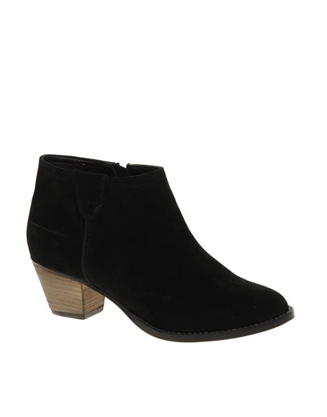 asos asos august suede ankle boots with mid heel in black