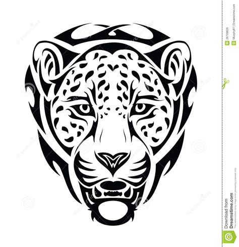 jaguar tribal head isolated stock vector illustration