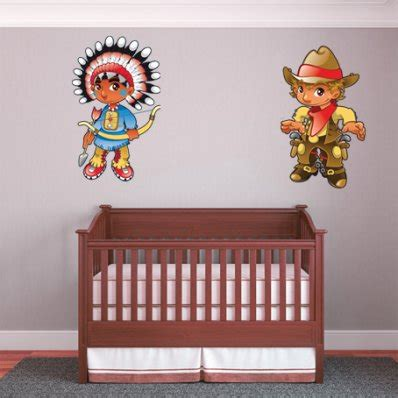 cowboy wall stickers wallstickers folies cowboy and indian
